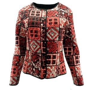 Silkland Blazer Large Silk Quilted Beaded Sequins